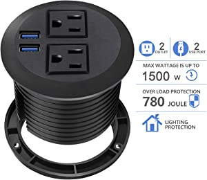 Desktop Power Grommet with USB,Hidden Power Socket. Desk Hole Grommet Outlet,Easy Access to 2 power Source Along with 2 USB Power Port Connections(2 USB Ports)