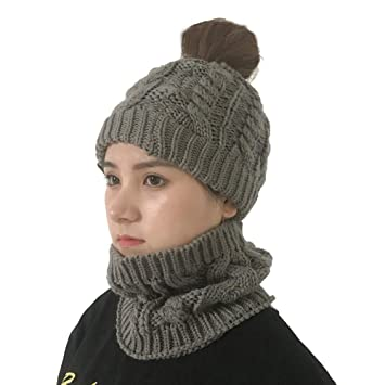 5418a1aaafc Amazon.com   Oversized Slouchy Beanie Bundled with Matching Infinity Scarf  Winter Outdoor Knit Beanie Cap (Gray)   Beauty