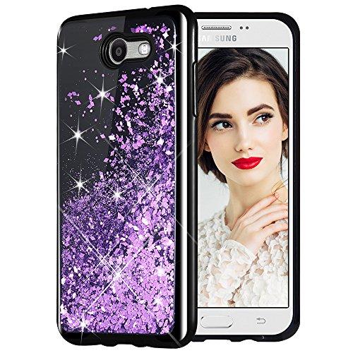 Caka Galaxy J7 2017 Case, Starry Night Series Bling Glitter Flowing Floating Luxury Liquid Sparkle Soft TPU Case for Samsung Galaxy J7 Sky Pro Prime J7 V J7 Perx Halo 2017(AT T) (Purple)