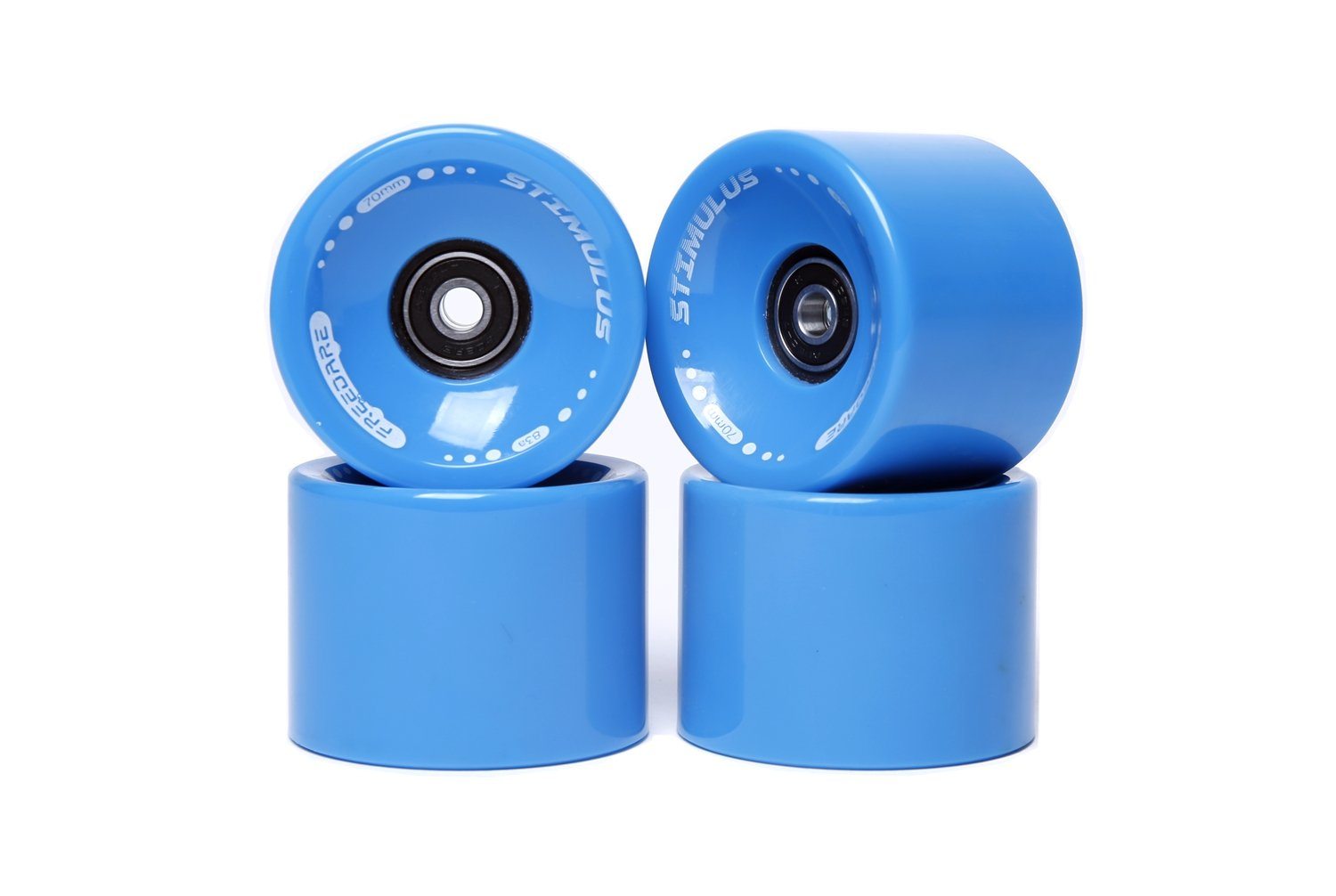 FREEDARE 70mm Longboard Wheels with ABEC-7 Bearings and Spacers(Blue,Set of 4) by FREEDARE