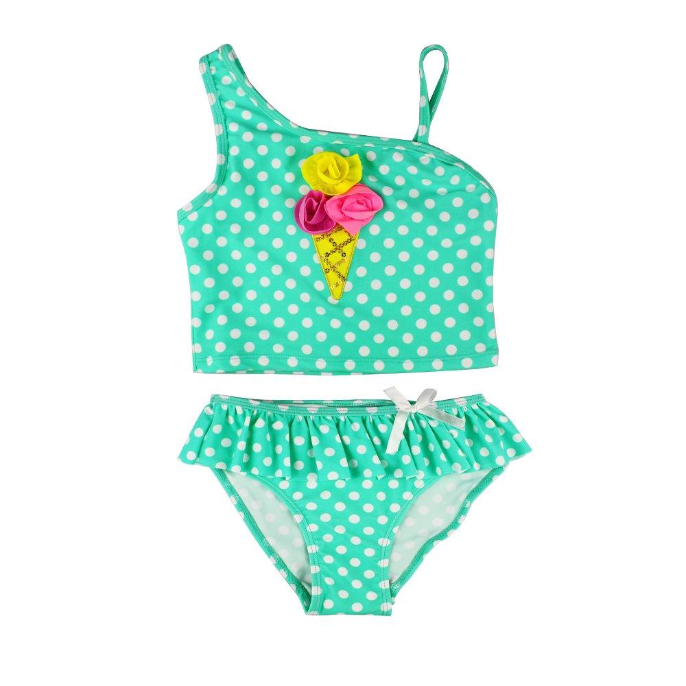 Estamico Little Girls' Summer Two Piece Tankini Kids Swimsuit Bathing Suit Swimwear, Polka Dots 5
