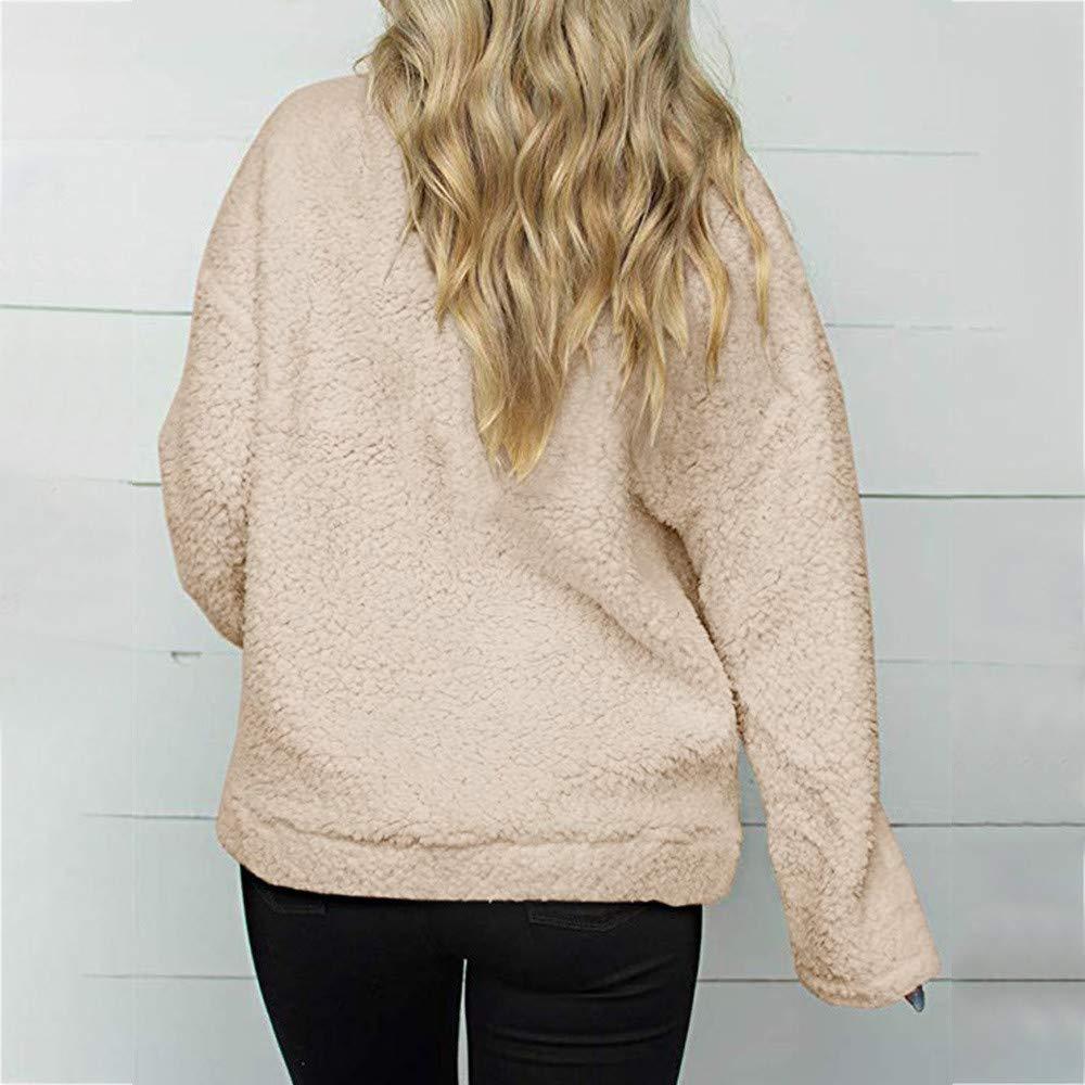 iYYVV Women Sweatshirt Coat Winter Warm Wool Zipper Pockets Cotton Coat Outwear Hoodie