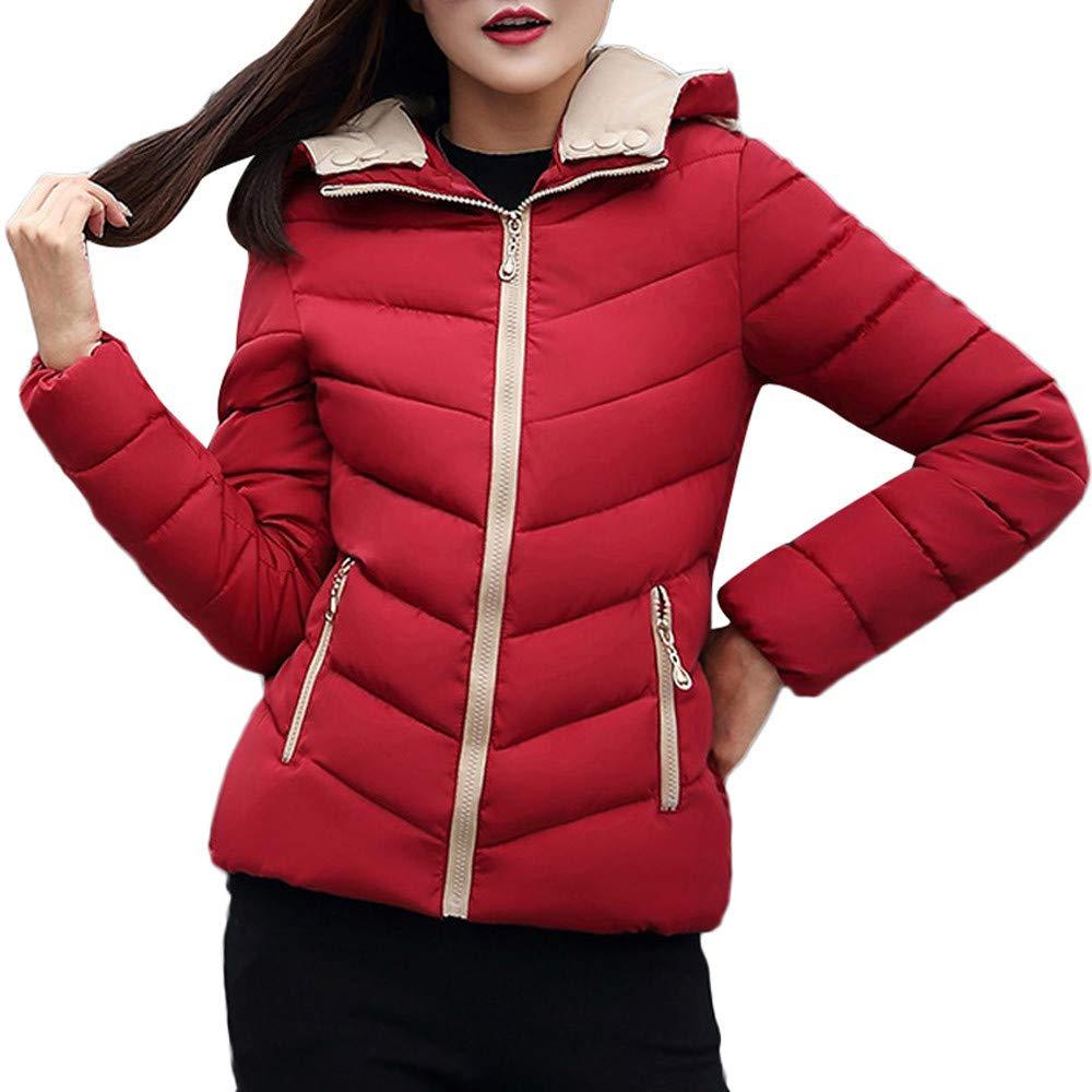 Pervobs Women Coat Down Jackets Thick Hooded Full-Zip Pocket Slim Jacket Overcoat