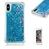 Funyye Liquid Quicksand Case for iPhone X,Sparkly Flowing Glitter Blue Love Hearts TPU Case for iPhone X,Slim Soft Rubber Flexible Clear Protective Silicone Case for iPhone X + 1 x Free Screen Protector