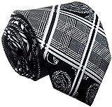 Allbebe Men's Fashion Grey Jacquard Woven Silk Tie Microfiber Formal Necktie (One size, black grey)