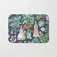 "Jeepooff Frida Kahllo Botanicss - Carbon-s Grey Door Bath Mat 23.6"" x 15.7"""