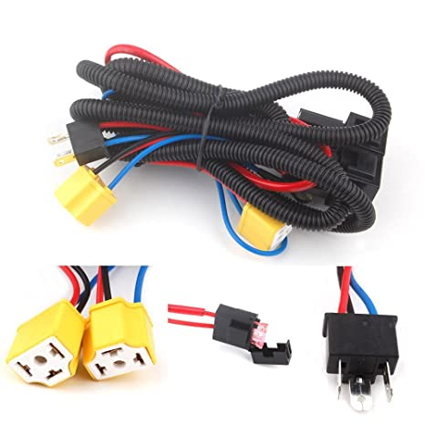 Terrific Amazon Com H4 Headlight Fix Dim Light Relay Wiring Harness System 2 Wiring Cloud Tobiqorsaluggs Outletorg