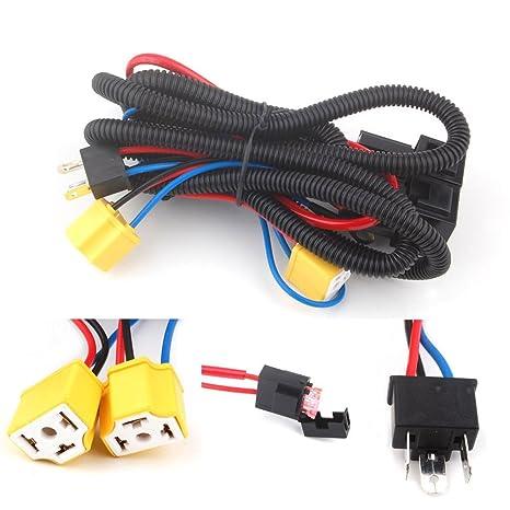 Amazon.com: H4 Headlight Fix Dim Light Relay Wiring Harness System