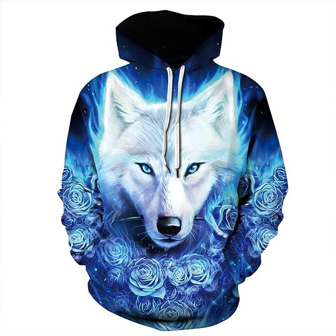 9a399a068843 Jonyn Unisex Felpe con Cappuccio Uomo 3D Stampato Pullover Sweatshirt  Maniche Lunghe Tasche Felpa Sportive Maglione Lupo Rosa Blu S-3XL   Amazon.it  ...