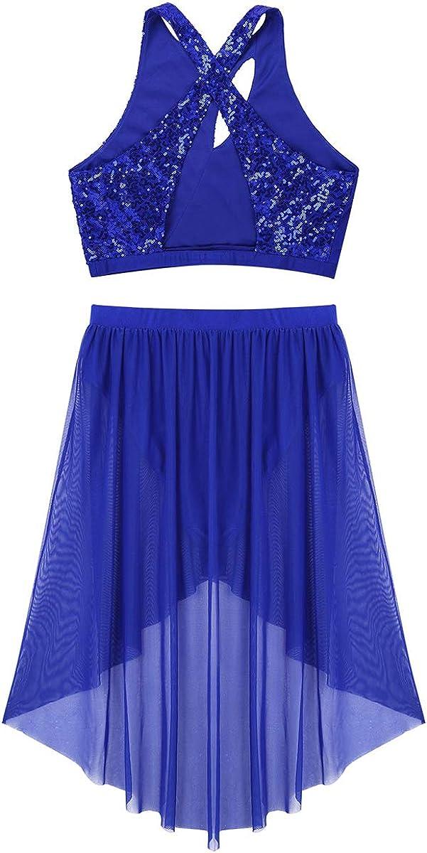 TiaoBug 2 Pieces Women Sequins Asymmetric Lyrical Dance Crop Top with High-Low Mesh Skirt Dance Dress Costume