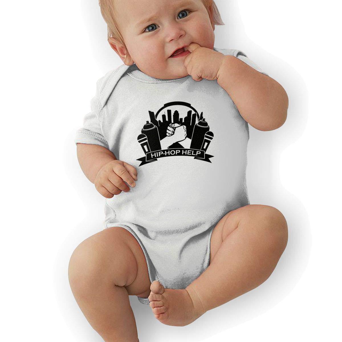 Infant Baby Boys Bodysuit Short-Sleeve Onesie Hip-Hop Help Print Jumpsuit Winter Pajamas