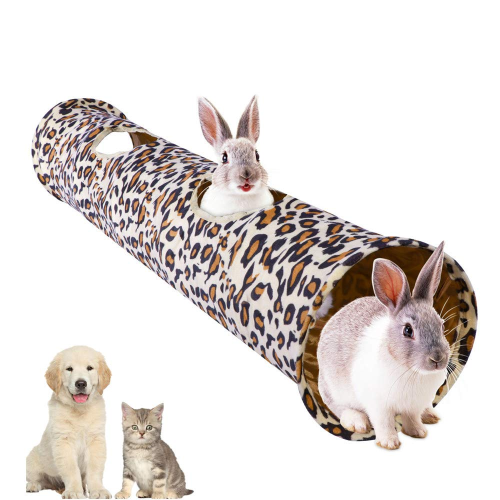 Wildmarely Leopard Cat Tunnel, Cat Dog Tunnel Indoor Pet Pop Up Tube 2 Holes for Cats,Small Dogs,Rabbit,Kitten,Puppy by Wildmarely (Image #1)