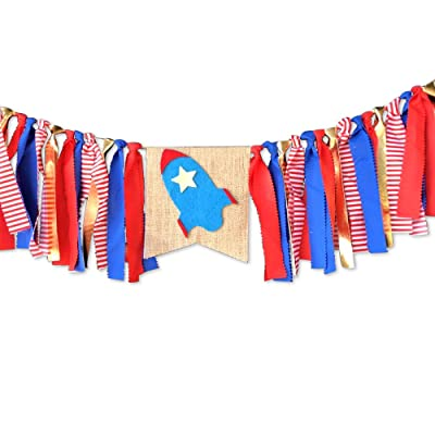 Full Win Shop Rocket Theme Banner Solar System Decorations Astronaut Party Decoration Outer Space Banner Rocket Banner for Boy's Birthday Party: Toys & Games