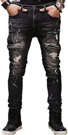 Beauty Decor Mens Straight Slim Biker Skinny Black Ripped Destroyed Denim Jeans