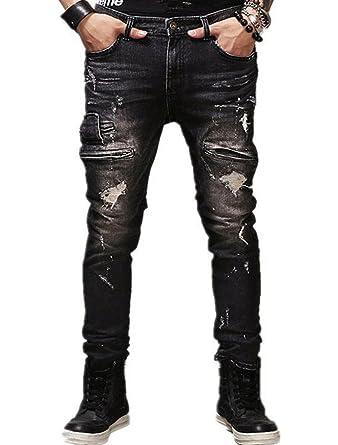 a32cc2c3ee RUIYUNS Men's Black Slim Fit Ripped Jeans With Zipper Decoration Hole Denim  Trouser Pants (29W