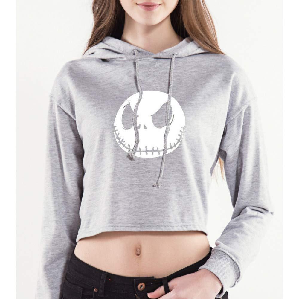 CHAOHAO 3D Kapuzenpullover Kapuze 3D Pullover Frauen Hip Hop Halloween Pullover Dünnen Abschnitt Nabel Print Kurzen Hoodie Grau Baim