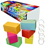 Debra Dale Designs - Blank Flash Cards Hole Punched with Rings - 3.5 x 2 Inches - 6 Colors - Box of 1,100 - 110# Index Card Stock