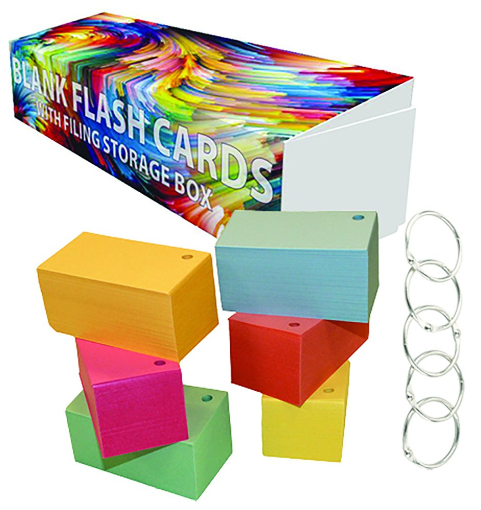 Debra Dale Designs - Standard 110# Index Card Stock - Blank Flash Cards Single Hole Punched with Five (5) Metal Binder Rings - 3.5'' x 2'' Inches - Six (6) Pastel Colors - Storage Filing Box of 1,100
