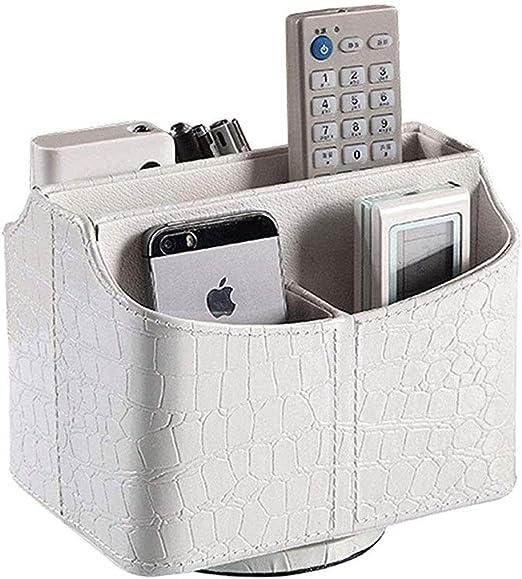 Soporte para mando a distancia para escritorio con caja de almacenamiento de piel sintética para guardar mandos a distancia de maquillaje, smartphone, DVD, Blu-ray o TV, plástico, 1, talla: Amazon.es: Hogar
