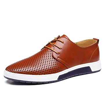 TAZAN Zapatos Comodos Oxford de Cordones para Hombre Cuero de ...