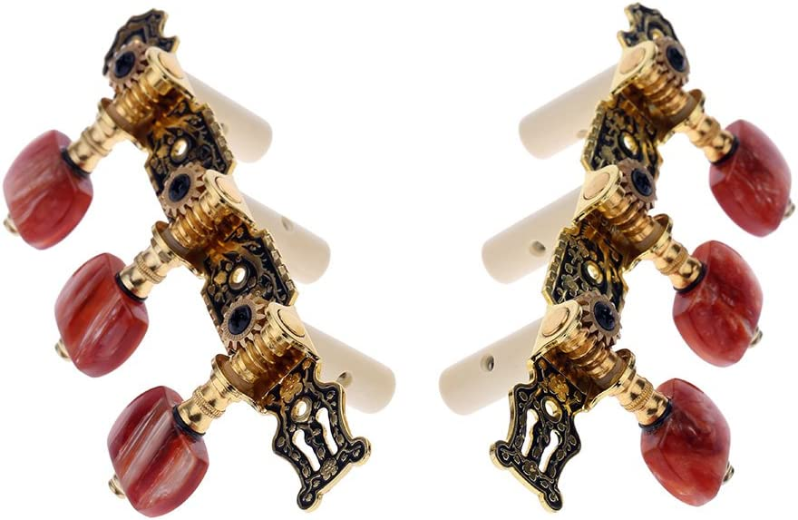 Alice AO-020HV2P (izquierda + derecha) 2pcs Llave de Afinación de Oro/Negro Plateado Clavija Sintonizador Machine Head (largo) Cadena Tuner para Guitarra Clásica