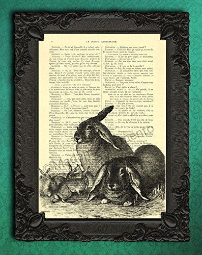 Amazon.com: Rabbit Family Art Print, Bunny Parents with Kids Wall ...