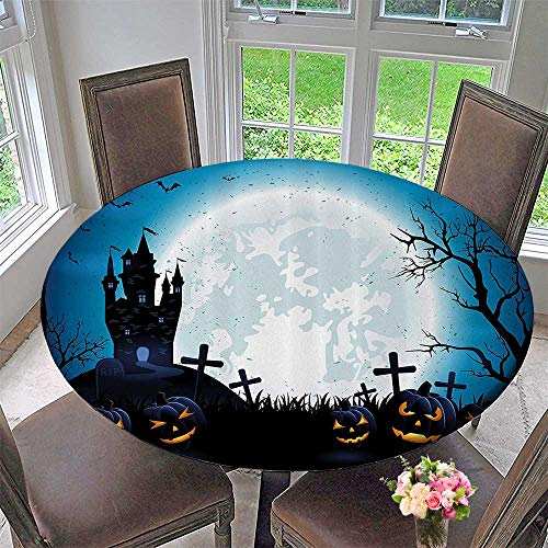 Mikihome Round Polyester Tablecloth Table Cover Spooky Ccept with Halloween ICS Old Celtic Harvest Festival Figures 67
