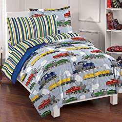dream FACTORY Trains Ultra Soft Microfiber Boys Comforter Set, Blue, Full