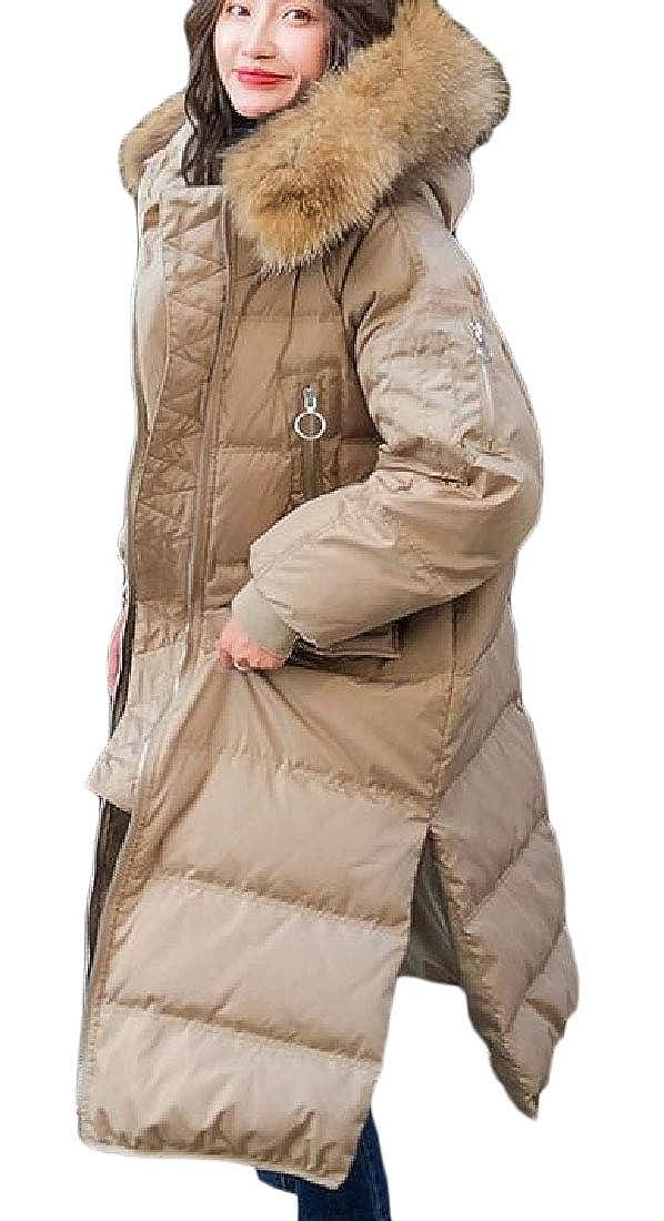 2 jxfd Women Long Coat Plus Szie Packable Long Sleeve Faux Fur Hoode Zip Coat