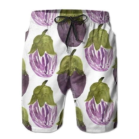 HEAGRWGRE Berenjena púrpura Pantalones Sueltos de Playa para ...