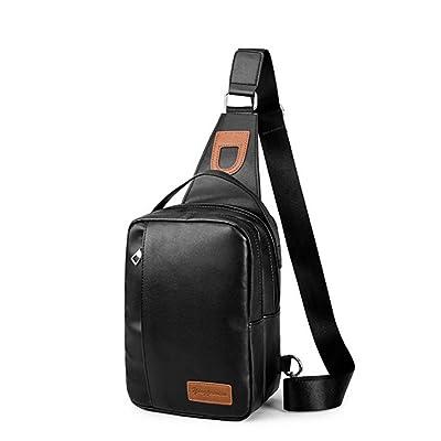 Ranbio Casual PU Leather Cross Chest Sling Bag Multipurpose Daypacks for Men & Women