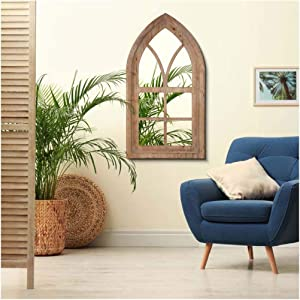 Glitzhome Gothic Style Arched Windowpane Wall Mirror Window Frame 40