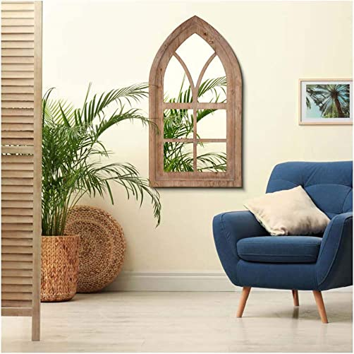 Glitzhome Gothic Style Arched Windowpane Wall Mirror Window Frame Mirror Wall Decor 40 H
