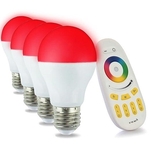 7 opinioni per LIGHTEU, 4x 6W, E27, Wi-Fi multicolore di RGB lampadina a LED con un tocco