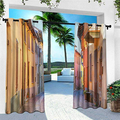leinuoyi Italy, Outdoor Curtain Modern, Narrow Paves Street Among Old Houses in Town Serralunga DAlba Piedmont, Balcony Curtains W72 x L108 Inch Pale Orange Brown Pink