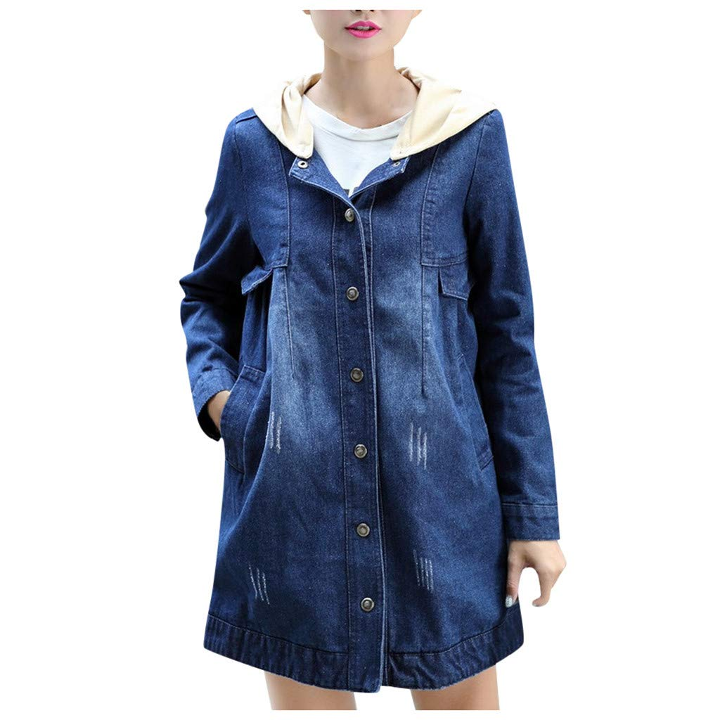 Wenini Fashion Women Long Jean Jacket Denim Coat Hoodie Jeans Top Blouse Long Sleeve Loose Coat Windbreaker Outwear Coat with Hood by Wenini Women Coat