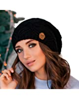 Oversized Chunky Winter Beanie for Women, Slouchy Merino Wool Knit Hat with Fleece Lining, Perfect for Cold Weather Outdoor Activities