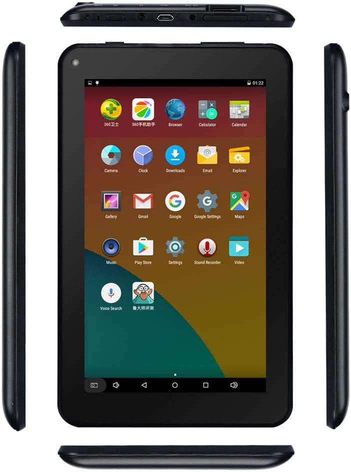 Haehne 7 Inches Tablet PC - Google Android 6.0 Quad Core, 1024 x 600 Screen, 2.0MP 0.3MP Dual Camera, 1G RAM 16GB ROM, 2800mAh, WiFi, Bluetooth (Black)