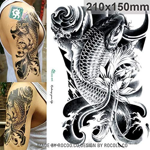 Koi Tattoo - Samoan hawaii Polynesian USO tatau Butterfly Koi fish aquarium temporary tattoo METALLIC FLASH tattoo body art make up fake tattoo jewelery stickers water transfer