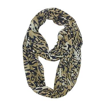 Femme Echarpe Leopard Echarpe Pochette SecrèTe Zip Foulard à Poche Infinie  Mode e26d4a53b01