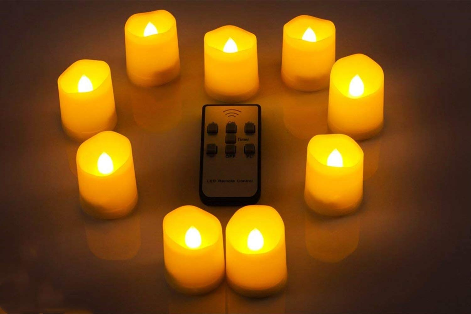 LED Electronic Remote Control Tea Wax, Candle Light, Artificial Candle Lamp, Night Light, Safe Smoke-Free and Pollution-Free, Decorate Gifts for Halloween Valentine's Day(24PCS) RAINBEAN