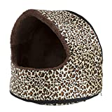 PETMAKER Furry Canopy Pet Cave Bed – Cheetah