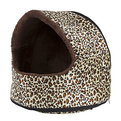 PETMAKER Cozy Canopy Cheetah Print Pet Cave Bed, 16