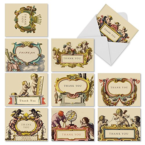"(10 All Occasion 'You're An Angel' Note Cards with Envelopes (Mini 4"" x 5 ¼""), Blank Cards Featuring Chubby Cherubs and Ornamental Frames, Stationery for Weddings, Baby Showers, Thank You #M1741BN)"