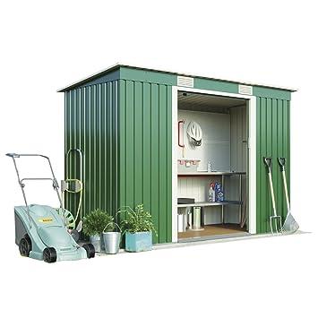 Cobertizo pequeño de metal para jardín de Waltons, con puertas correderas y rampa de acceso fácil, resistente al agua (2 x 1, 2 m): Amazon.es: Jardín