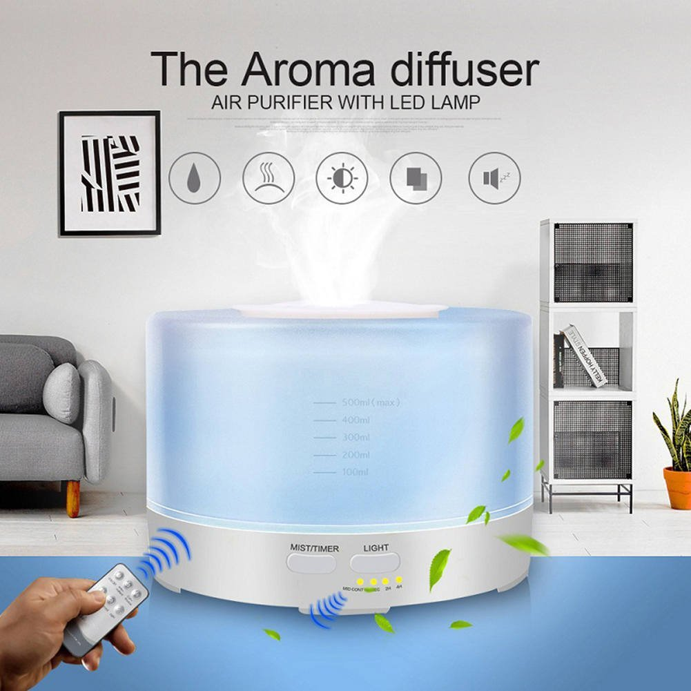 Aromatherapy Essential Oil Diffuser Cool Mist Humidifier Ultrasonic LED Light Changing Colors Remote Control Perfect For Home,Office,Living Room,Spa,Car,Yellow by L&X (Image #2)