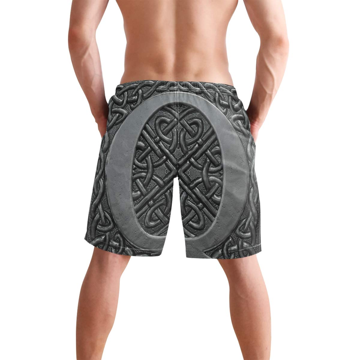 Mens Beach Swim Trunks Vintage 3D Letter Q Boxer Swimsuit Underwear Board Shorts with Pocket