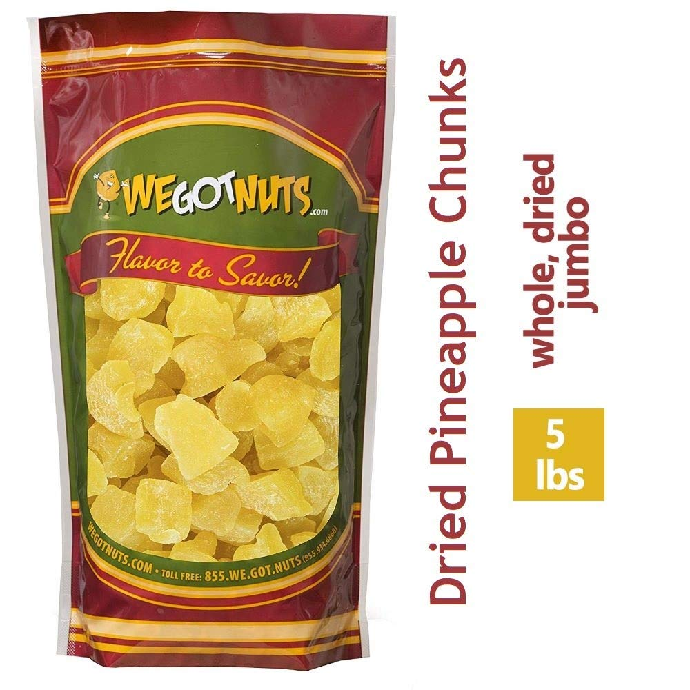 We Got Nuts Dried Pineapple Chunks | Freshly Packed Pineapple In A Perfectly Sealed Bag | Healthy Snack Full Of Vitamins, Minerals, Antioxidants, Fibers & Enzymes | Kosher Certified Dried Fruit (5lb) by We Got Nuts