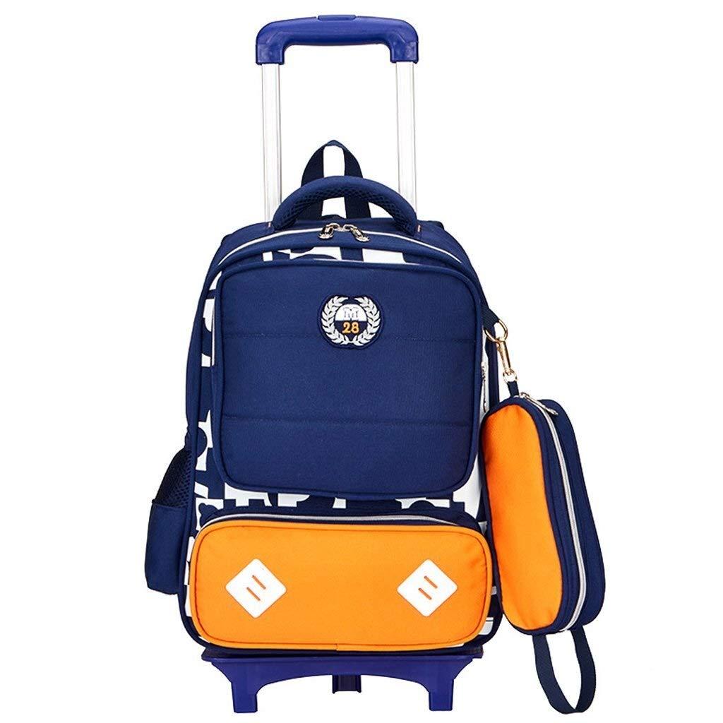 Orange 271690cm 6-Rad-Trolley, abnehmbare Rolltasche, Kinder-Cart-Bag wasserdichte Reisetasche für Grundschulkinder aus Nylon für den Außenbereich (Farbe   Orange, Größe   27  16  90cm)