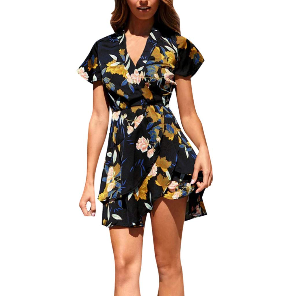JiaMeng Casual Mini Vestido de Fiesta Noche de Impresion Dress Manga Corta Estampado de Flores Vendaje Mariposa Hem Vestido Suelto para Fiesta Vestido de Moda